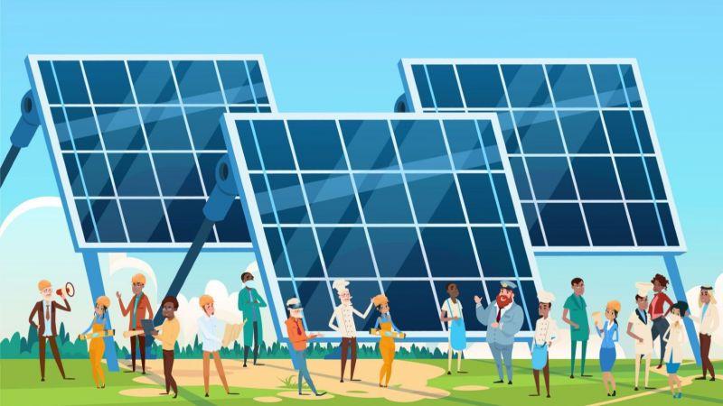 Grafische Szene zum Förderaufruf Energiewende und Gesellschaft 2020: verschiedene Personen vor Photovoltaikanlagen
