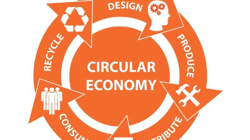 Grafische Darstellung zum zirkulären Wirtschaften - bis zum 6.11. soll eine Umfrage Forschungsbedarfe im Bereich Ressourceneffizienz erfassen.