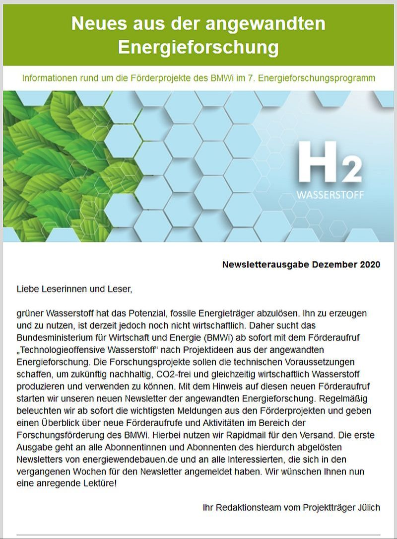 Erste Ausgabe Newsletter Neues aus der angewandte Energieforschung.