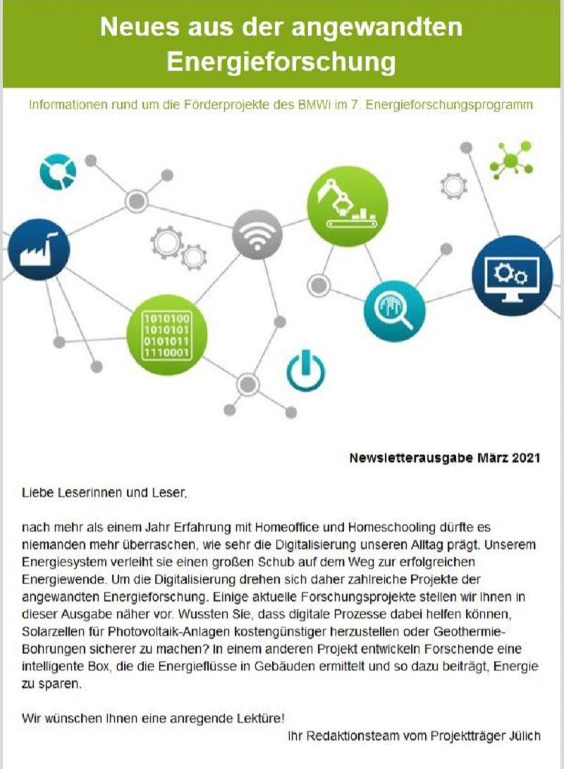 Zweite Ausgabe Newsletter Neues aus der angewandte Energieforschung