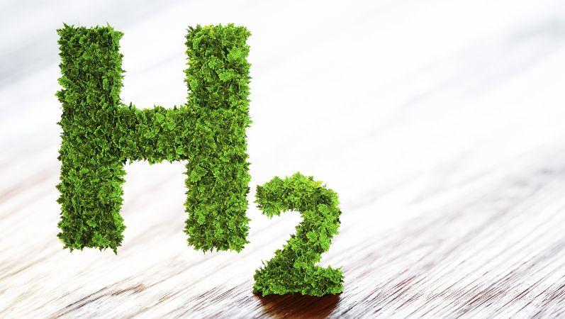 Wasserstoff Element Symbol in 3D-Form aus Blättern