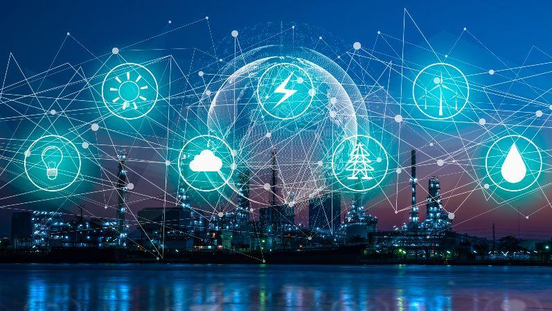 Symbolbild der Forschungsnetzwerke, welches die wichtigsten Themen in der Energieforschung darstellt.